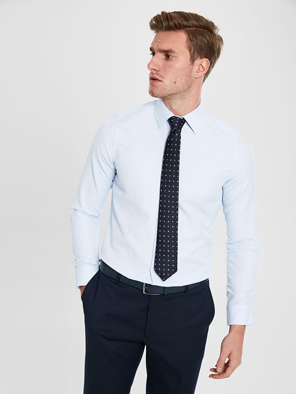 %60 Pamuk %40 Polyester %100 Polyester Gömlek Gömlek Yaka Baskılı Dar Uzun Kol Slim Fit Uzun Kollu Armürlü Gömlek ve Kravat