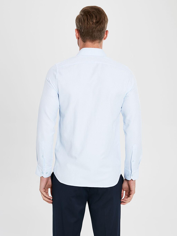 LC Waikiki Mavi Slim Fit Uzun Kollu Armürlü Gömlek ve Kravat
