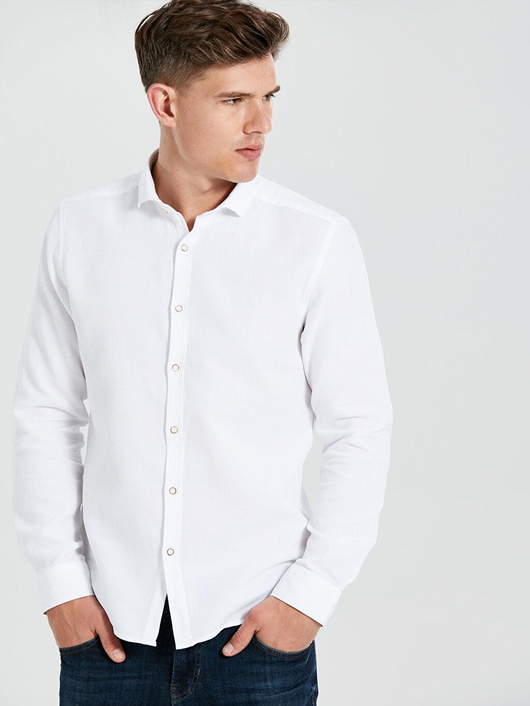 %100 Pamuk %100 Pamuk Gömlek Yaka Dar Patlı Uzun Kol Gömlek Düz Kalın Slim Fit Uzun Kollu Armürlü Gömlek