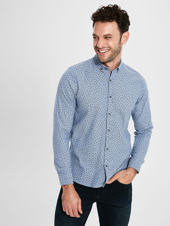 %100 Pamuk %100 Pamuk Baskılı Dar Patlı Uzun Kol Gömlek Düğmeli Gömlek Yaka Kalın Slim Fit Uzun Kollu Armürlü Gömlek