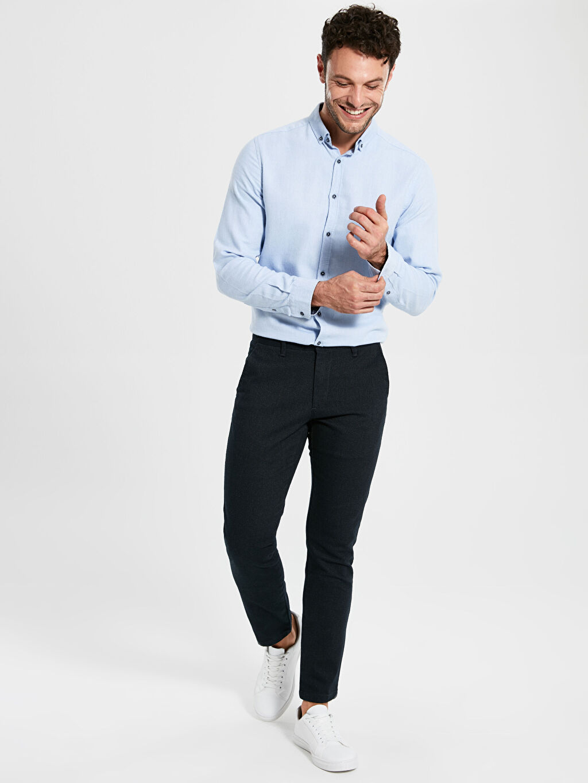 %81 Pamuk %17 Polyester %2 Elastan Dar Pantolon Aksesuarsız Düz Dar Kalıp Chino Pantolon