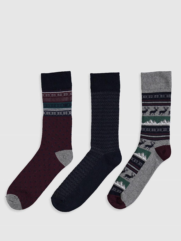 %77 Pamuk %21 Poliamid %2 Elastan Baskılı Günlük Dikişli Kalın Soket Çorap Desenli Soket Çorap 3'Lü