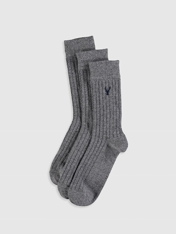Gri Soket Çorap 3'lü 9WK983Z8 LC Waikiki
