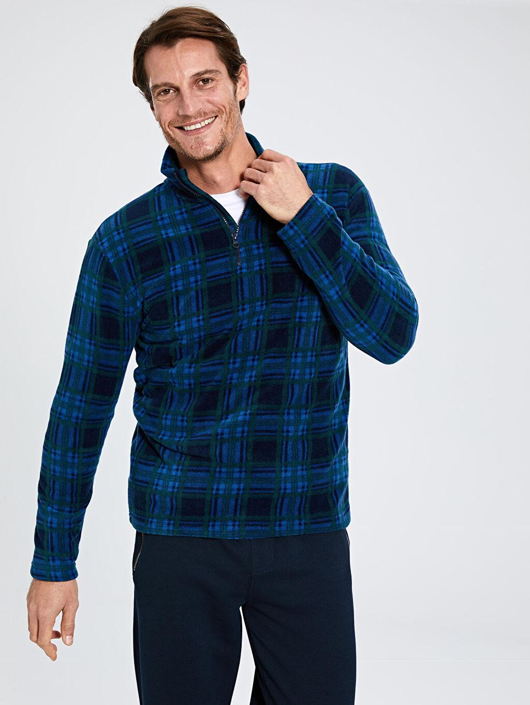%100 Polyester İç Giyim Atlet Standart U Yaka Uzun Kol Standart Kalıp Dik yaka Polar Pijama Üstü