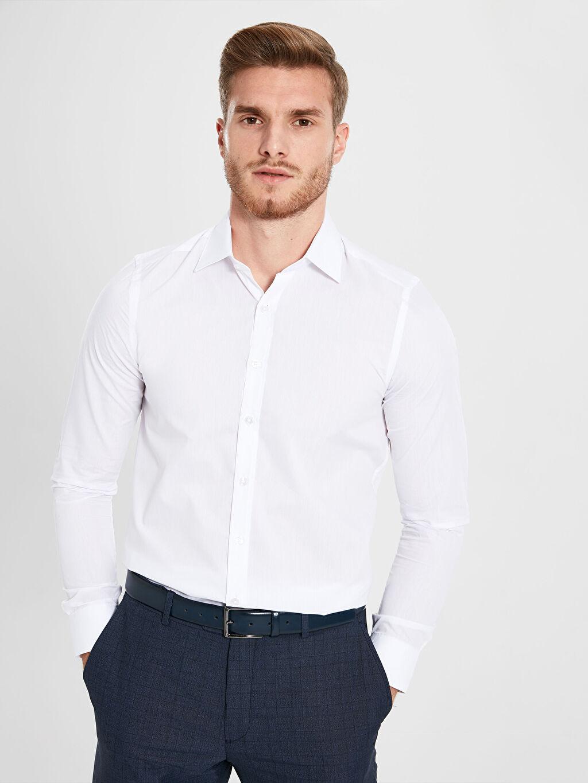 Beyaz Slim Fit Basic Uzun Kollu Gömlek 9WL711Z8 LC Waikiki