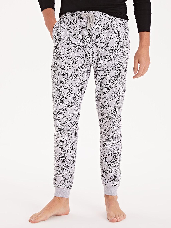 %62 Pamuk %38 Polyester Pijama Alt Baskılı İnce Sweatshirt Kumaşı Standart Standart Kalıp Tazmanya Canavarlı Eşofman Altı