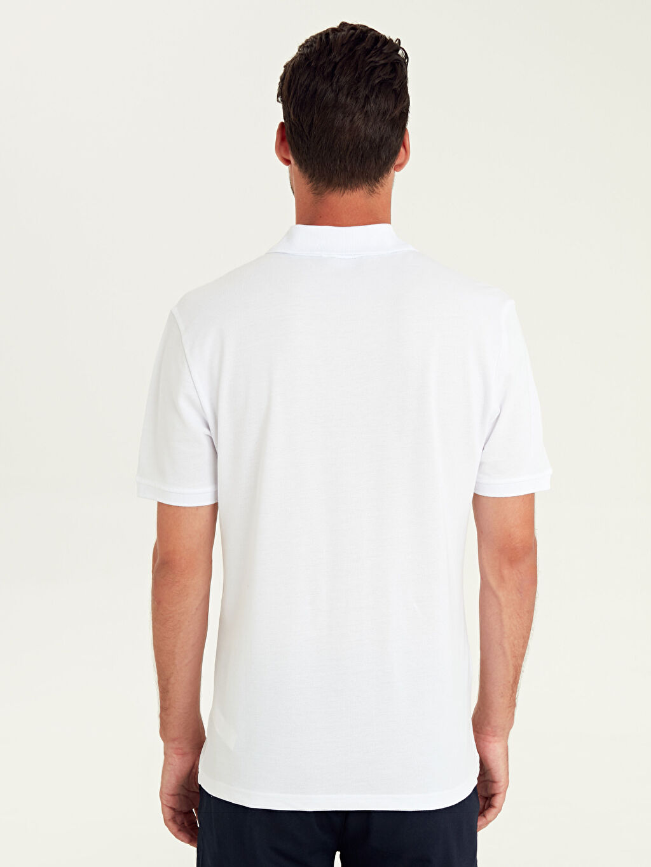 Erkek Polo Yaka Çizgili Kısa Kollu Pamuklu Tişört