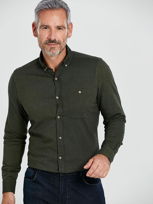 Haki Slim Fit Uzun Kollu Gabardin Gömlek 9WN810Z8 LC Waikiki