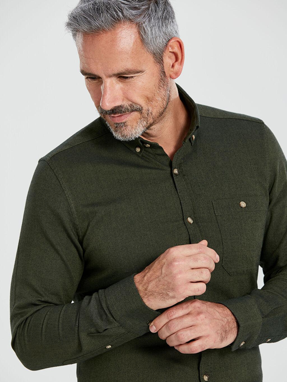 %100 Pamuk %100 Pamuk Gabardin Düğmeli Gömlek Yaka Gömlek Dar Patlı Uzun Kol Düz Slim Fit Uzun Kollu Gabardin Gömlek