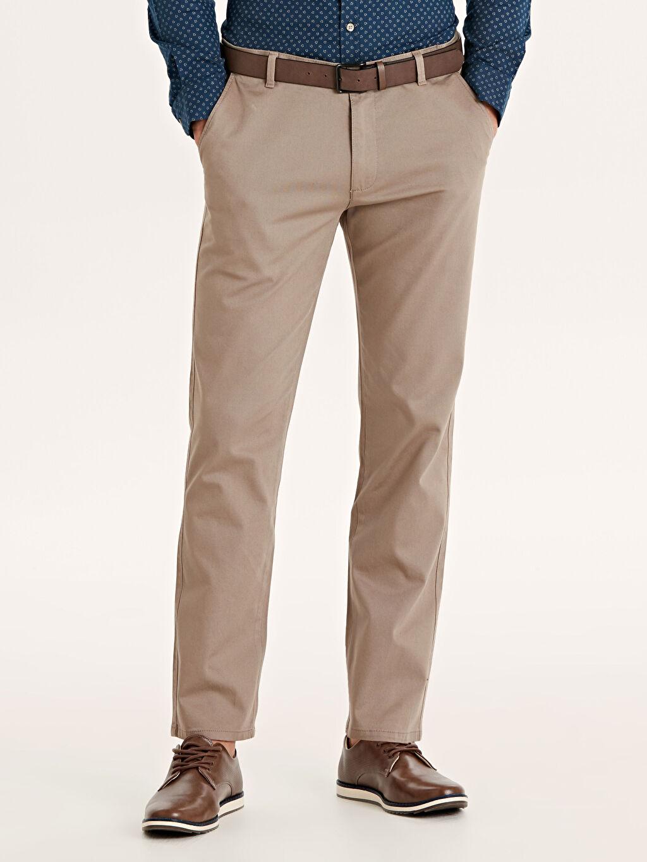 %97 Pamuk %3 Elastan Aksesuarsız Standart Normal Bel Uzun Pantolon Düz Standart Kalıp Armürlü Pantolon