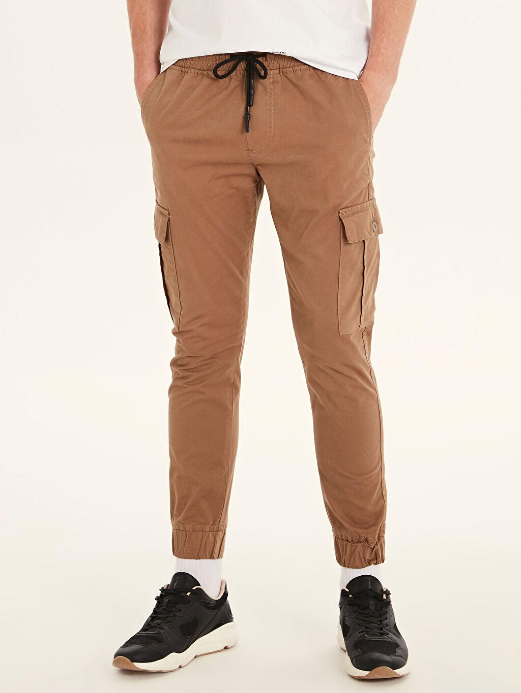 %96 Pamuk %4 Elastan Normal Bel Dar Pantolon Düz Standart Gabardin Slim Fit Gabardin Kargo Pantolon