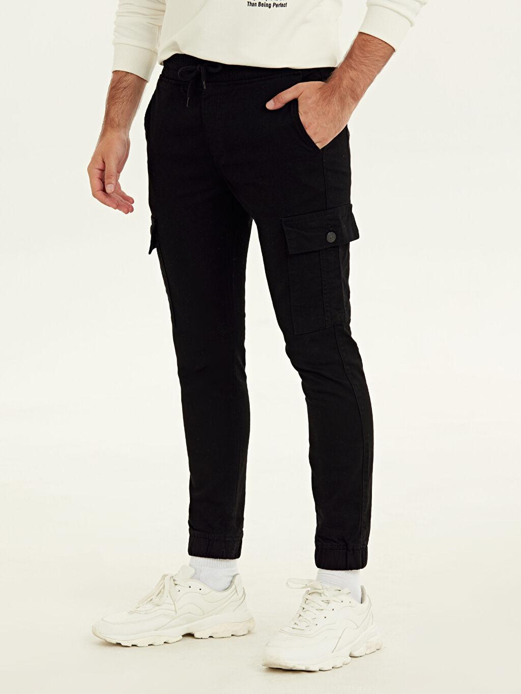 %98 Pamuk %2 Elastan Normal Bel Dar Pantolon Slim Fit Jogger Jean Pantolon