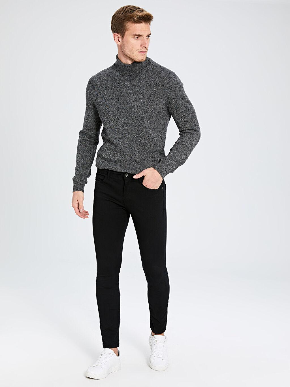 %97 Pamuk %3 Elastan Gabardin Süper Skinny Beş Cep Pantolon Ekstra Dar Kalıp Chino Pantolon