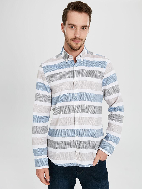 Haki Slim Fit Armürlü Uzun Kollu Gömlek 9WQ846Z8 LC Waikiki