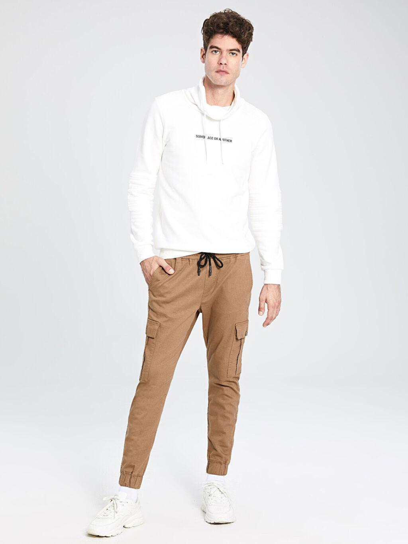 Kahverengi Slim Fit Gabardin Kargo Pantolon 9WS437Z8 LC Waikiki