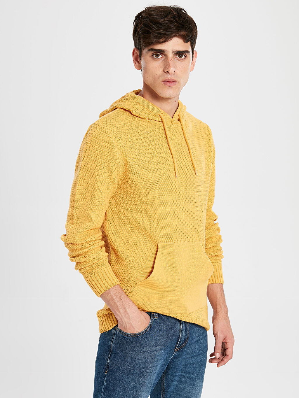 Sarı Slim Fit Kapüşonlu Kalın Triko Kazak 9WS565Z8 LC Waikiki