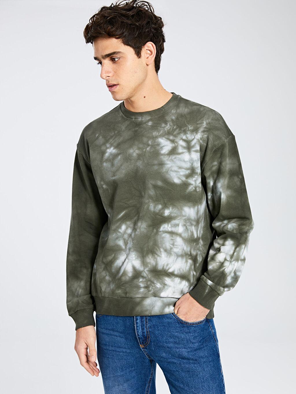 %100 Pamuk %100 Pamuk Sweatshirt Bisiklet Yaka Batik Desenli Sweatshirt