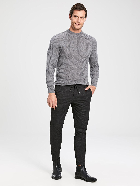 %64 Polyester %2 Elastan %34 Viskon Pantolon Aksesuarsız Crop Düz Gabardin Dar Kalıp Chino Pantolon