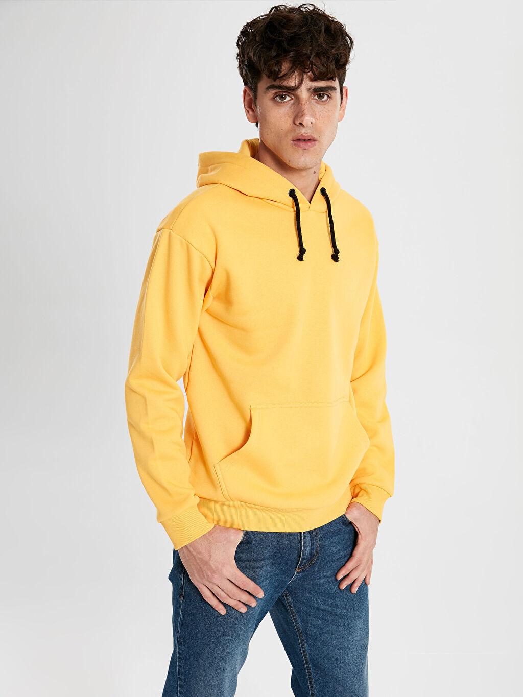 %66 Pamuk %34 Polyester Düz Kapüşon Yaka Sweatshirt Kapüşonlu Basic Kalın Sweatshirt