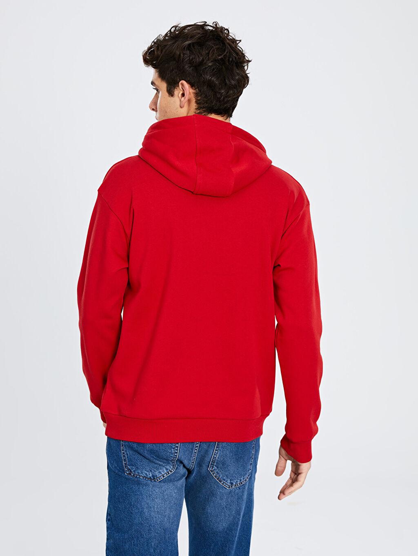LC Waikiki Kırmızı Kapüşonlu Basic Kalın Sweatshirt