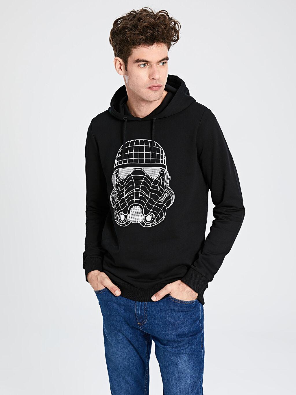 Siyah Star Wars Baskılı Kapüşonlu Sweatshirt 9WU879Z8 LC Waikiki