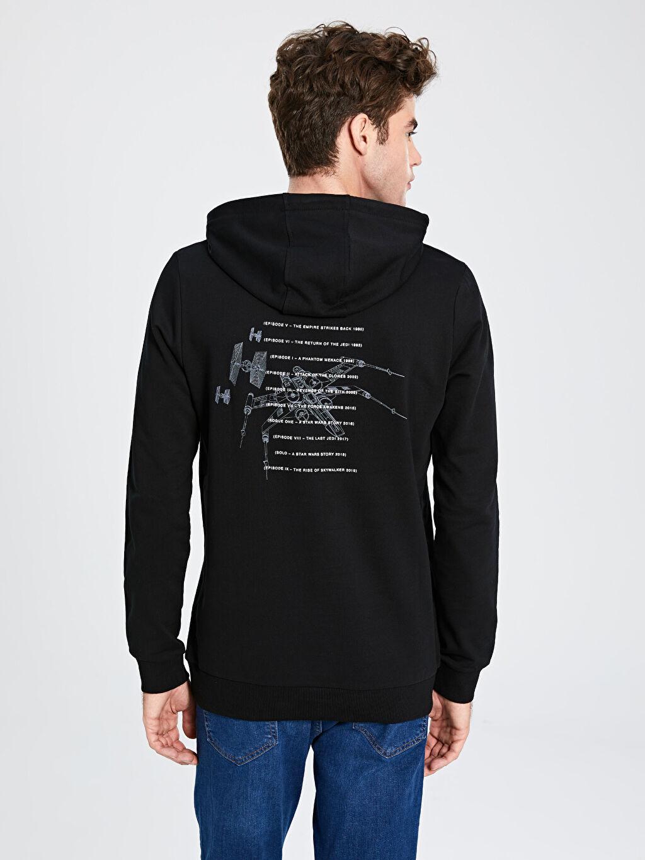 %80 Pamuk %20 Polyester Star Wars Baskılı Kapüşonlu Sweatshirt