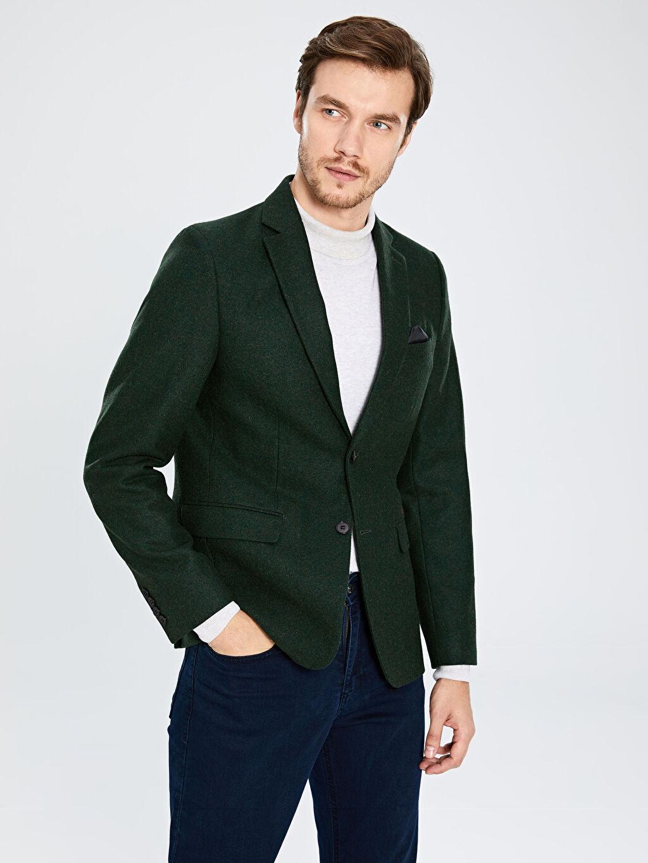 %20 Polyester %80 Yün %100 Polyester Dar Düz Blazer Ceket Astarlı Dar Kalıp Yün Karışımlı Blazer Ceket