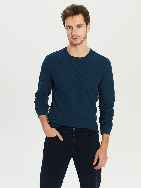 %48 Pamuk %52 Polyester Sweatshirt Standart Bisiklet Yaka Uzun Kol Düz Bisiklet Yaka Dokulu Basic Tişört