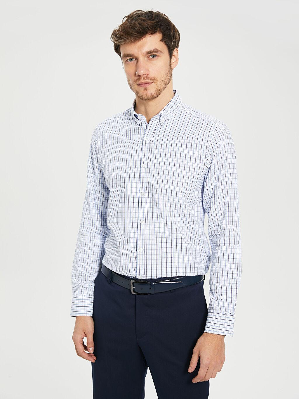 %59 Pamuk %41 Polyester Uzun Kol Düğmeli Gömlek Yaka Poplin Gömlek Ekose Dar Slim Fit Ekoseli Poplin Gömlek