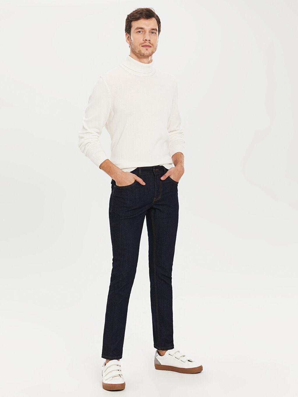 %98 Pamuk %2 Elastan Normal Bel Dar Beş Cep Jean 750 Slim Fit Jean Pantolon