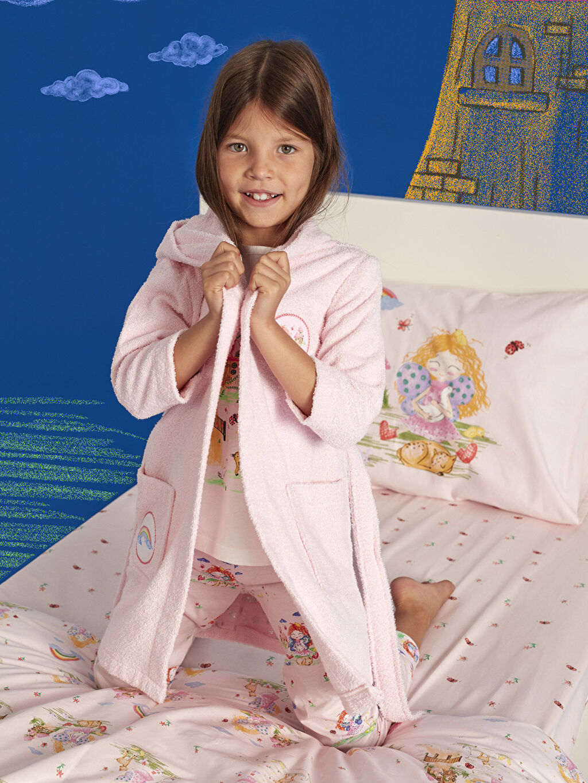 Pembe Kız Çocuk Kapüşonlu Bornoz 9WL453Z4 LC Waikiki