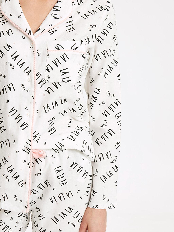 Kadın Yazı Baskılı Pamuklu Pijama Takımı