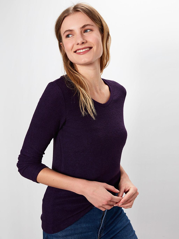 Kadın V Yaka Esnek Tişört