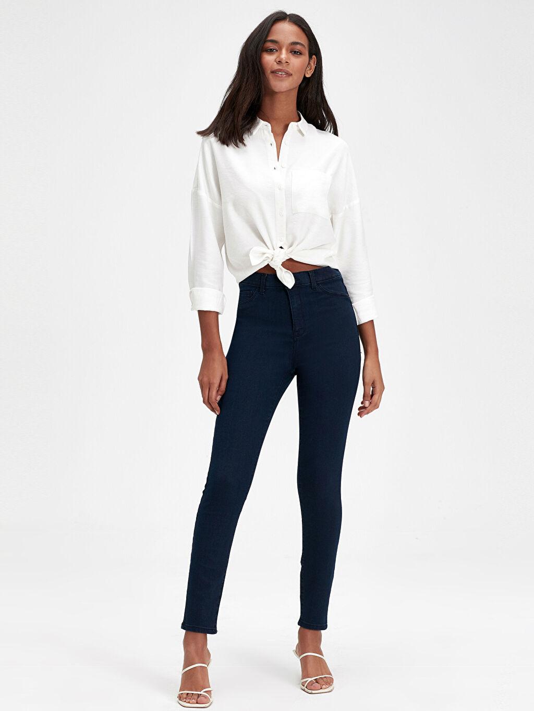 %68 Pamuk %30 Poliester %2 Elastane Dar Jean Yüksek Bel Standart Super Skinny Jean Pantolon