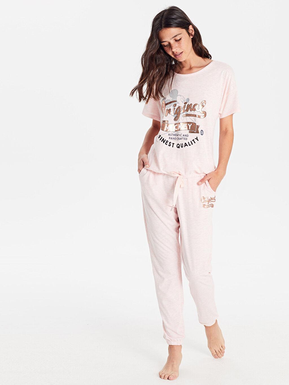 Kadın Mickey Mouse Baskılı Pijama Takımı