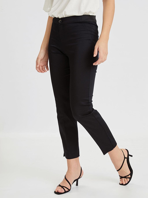 %66 Pamuk %31 Polyester %3 Elastan Saten Standart Normal Bel Pantolon Düz Bilek Boy Bilek Boy Beli Lastikli Esnek Kumaş Pantolon