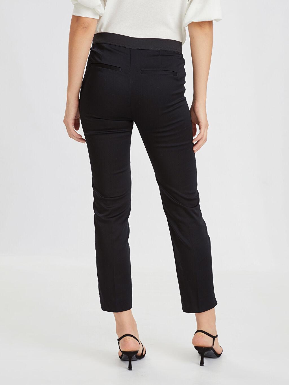 Kadın Bilek Boy Beli Lastikli Esnek Kumaş Pantolon