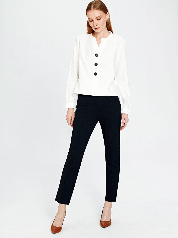 %25 Polyester %71 Viskoz %4 Elastan Yüksek Bel Standart Pantolon Düz Bilek Boy Beli Lastikli Bilek Boy Esnek Kumaş Pantolon