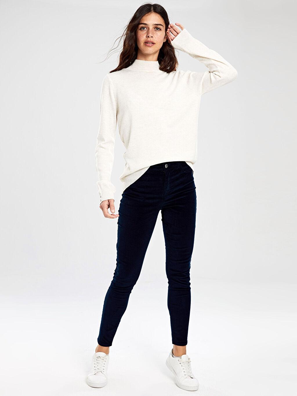 %98 Pamuk %2 Elastan Bilek Boy Normal Bel Skinny Pantolon Düz Dar Paça Kadife Kadife Skinny Pantolon