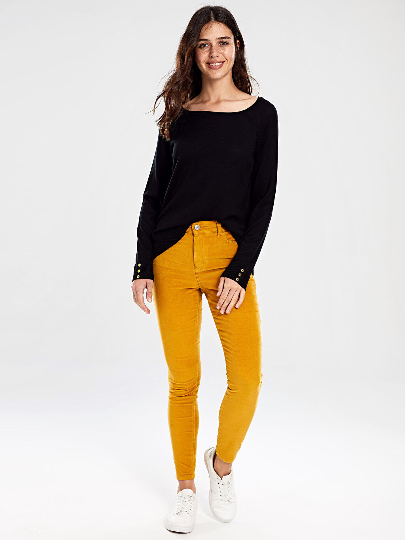 Sarı Kadife Skinny Pantolon 9W4918Z8 LC Waikiki