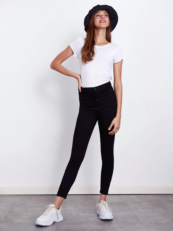 %62 Pamuk %34 Polyester %4 Elastan Yüksek Bel Dar Jean Standart Super Skinny Jean Pantolon
