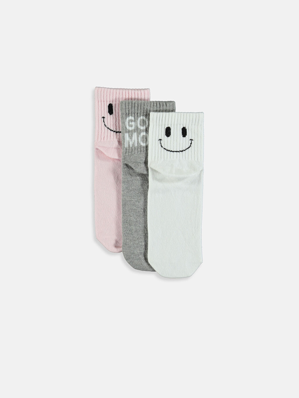 Beyaz Desenli Soket Çorap 3'lü 9W5819Z8 LC Waikiki