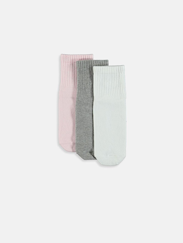 %74 Pamuk %23 Poliamid %3 Elastan Günlük Orta Kalınlık Soket Çorap Desenli Soket Çorap 3'lü