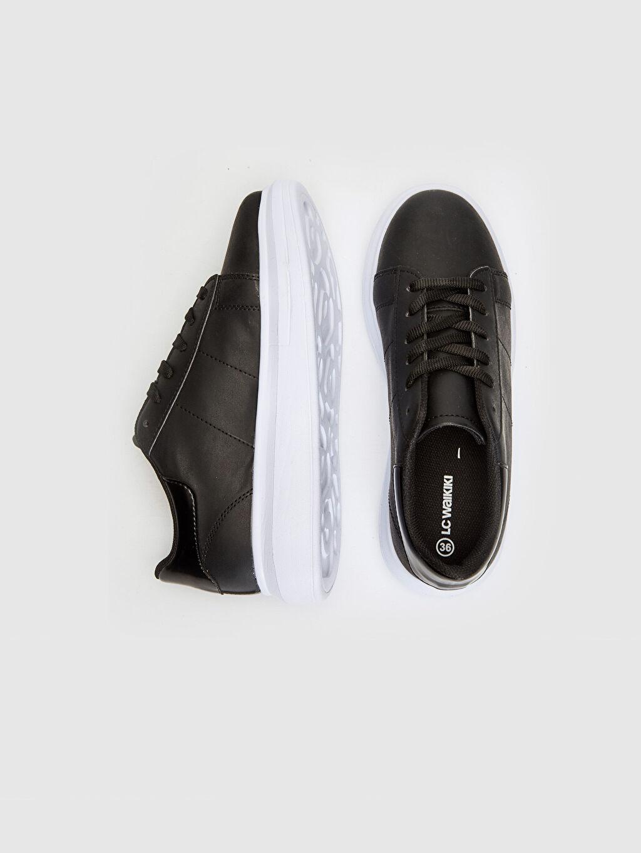 Diğer malzeme (poliüretan) Tekstil malzemeleri Konforlu İç Taban Düz Sneaker Kısa 4 cm Yuvarlak Burun Kadın Kalın Taban Günlük Spor Ayakkabı