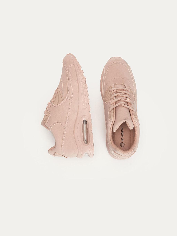 Diğer malzeme (poliüretan) Tekstil malzemeleri Konforlu İç Taban Düz Standart 5 cm Sneaker Oval Burun Bağcık Kadın Kalın Tabanlı Spor Ayakkabı