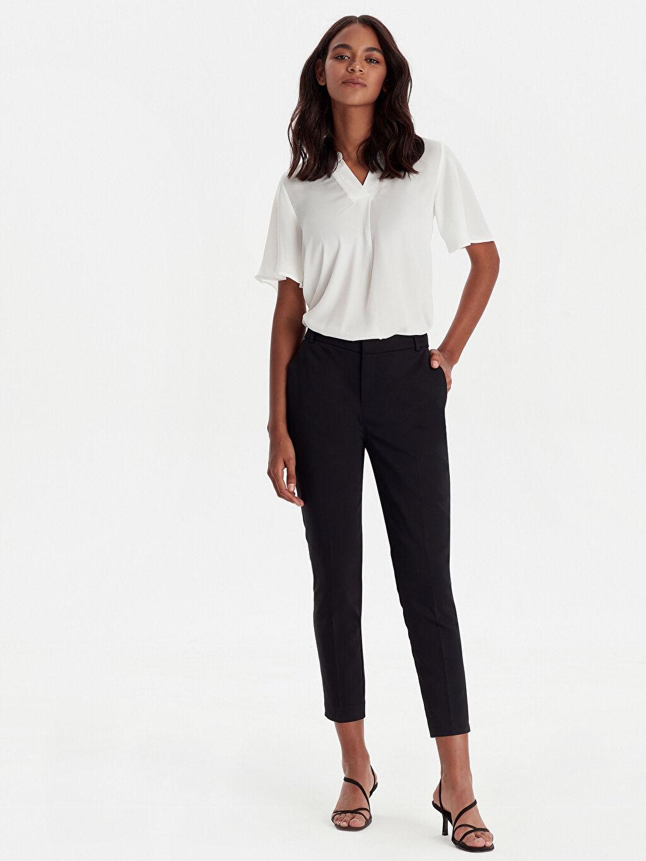 %54 Pamuk %42 Polyester %4 Elastan Bilek Boy Çizgili Normal Bel Dar Pantolon Çift Yüzlü Kumaş Bilek Boy Slim Pantolon