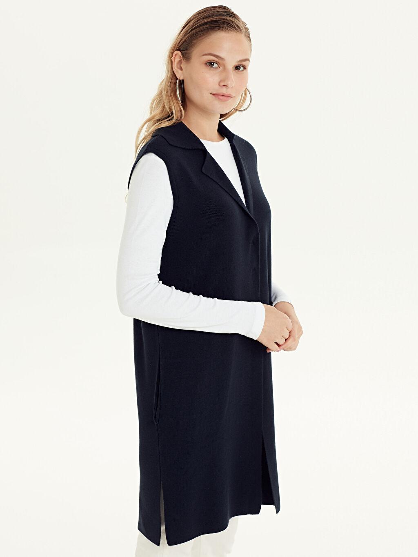 %100 Akrilik Ceket Yaka Uzun Yelek Düz Kalın Çıtçıtlı Triko Yelek