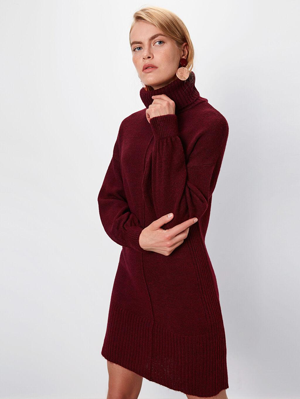 %81 Akrilik %19 Polyester Uzun Salaş Casual Degaje Uzun Kol Düz Elbise Triko Düz Şal Yaka Triko Elbise