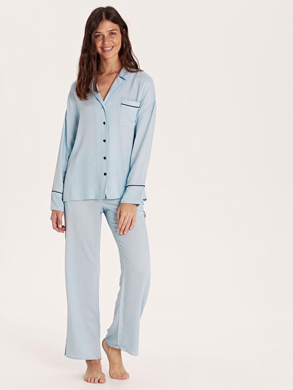 %100 Viskoz Orta Kalınlık Düz Standart Pijama Takım Vual Şerit Detaylı Viskon Pijama Takımı