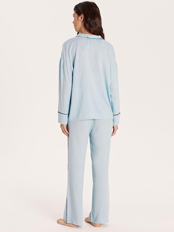 Kadın Şerit Detaylı Viskon Pijama Takımı